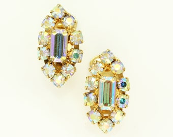 Golden Aurora Borealis Rhinestone Earrings - 1960s Crystal Marquise Shaped Clip Ons - Vintage Jewelry