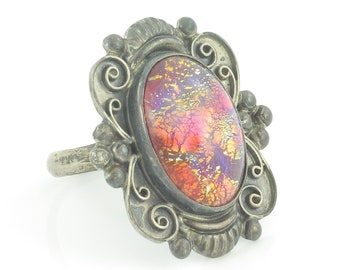 Mexican Sterling Foil Opal Glass Ring -  Scrolled Silver Ring Harlequin Art Glass Cabochon - 1940s Pre-Eagle Mark - Vintage Fine Jewelry