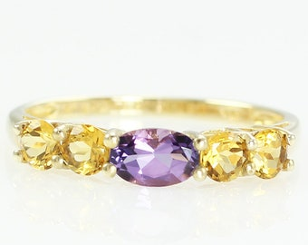 Vintage Slender 9K Gold Amethyst Citrine Gemstone Band Ring Size 7.5 - Estate Jewelry - Amethyst Citrine Wedding Band