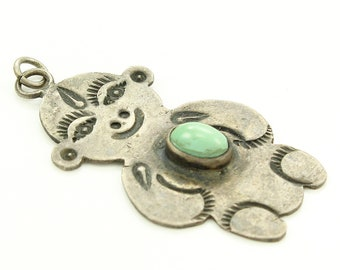 Sterling Silver Turquoise Figural Pendant  - Fred Harvey Era Fob - Old Pawn Jewelry - Vintage Southwestern Ornament