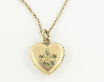 Victorian W&H Fleur de Lis Heart Locket Necklace - Rosy Gold Filled Paste Wightman Hough Antique Pendant - Vintage Jewelry