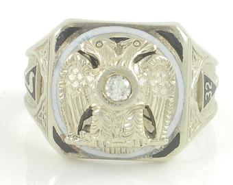 Vintage 32nd Degree Scottish Rite Master Mason Ring - 14K White Gold Double Eagle .16CT Diamond Black Enamel- 12.8 gr Size 9 -  Fine Jewelry