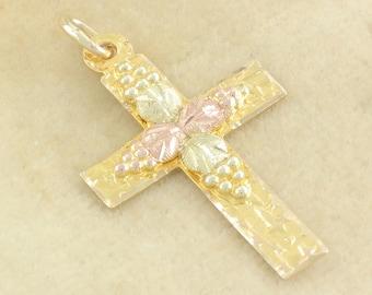 10K Black Hills Gold Cross Necklace Pendant - TriColor Rose Yellow Green Gold - Landstrom's Jewelry - 1.2 gram - Retro Vintage Fine Jewelry
