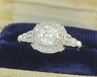Art Deco Diamond Platinum Engagement Ring c1920 - Old European Cut Diamond with Baguettes 1.0 CT TW - Vintage Wedding Jewelry
