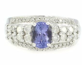 Tanzanite Diamond Engagement Ring 14K White Gold - 1.2 CT Tanzanite .70 CT Diamond Wedding - Size 8.75 8.7 grams -  Estate Fine Jewelry