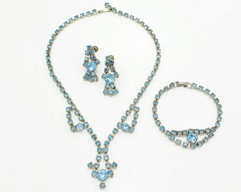 Vintage Pale Blue Rhinestone Jewelry Parure in Silver Tone c 1950 - Necklace Bracelet Screw Back Dangle Earrings in Baby Blue Crystal
