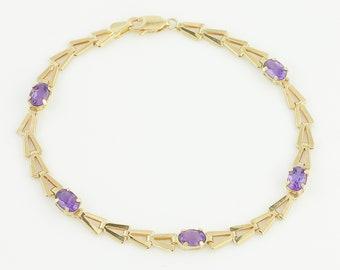Eighties 10K Amethyst Bracelet - 10K Yellow Gold Ladies Fancy Chain 2 CT Amethyst 5 Stone 7.5 inch Bracelet - Estate Vintage Fine Jewelry