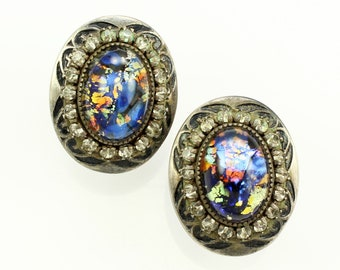 Vintage Sterling Blue Foil Back Dragon Breath Rhinestone Earrings - Silver Art Glass Jewelry