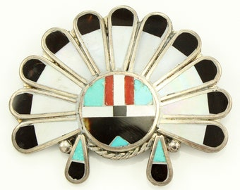 Inlaid Sun Face Brooch Multi Stone in Sterling Silver Pin - Vintage New Old Stock Southwestern Jewelry - Silver Turquoise Jewelry