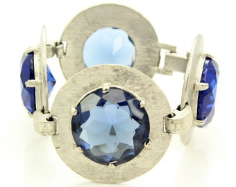 Vintage Chunky Silver Circles Blue Bracelet - Sixties Modernist Florentine Silver Tone with Navy Blue Glass Stones - Vintage Jewelry