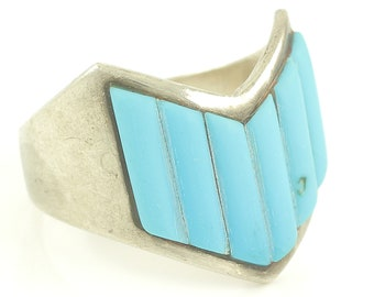 Chevron Turquoise Roy Inlay Mans Ring Sterling Silver - Tree Maker's Mark - 10.1 gram Size 13.5 - Vintage Southwestern Jewelry