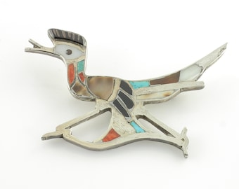 Multi Stone Inlay Road Runner Brooch Sterling Silver Turquoise Spiny Oyster Vintage - New Old Stock Native American Trading Post Jewelry