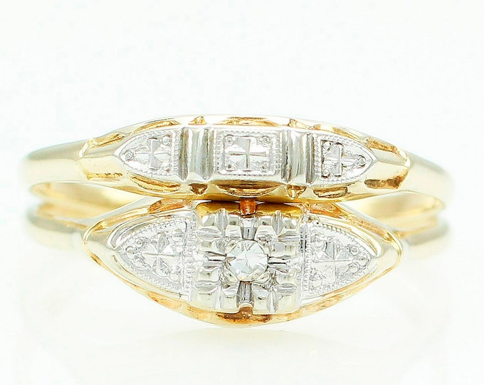 Featured listing image: Vintage Diamond Wedding Ring Set Princess - 14K Yellow White Gold Diamond Engagement Ring Wedding Band - Estate Jewelry
