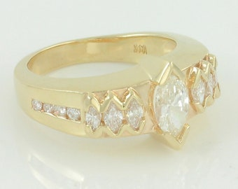 Heavy 14K 1.7 CT TW Natural Marquise Diamond Wedding Band - Custom Made Engagement Ring Size 6.25 - VS1 G-H 7.1g - -Vintage Estate Jewelry