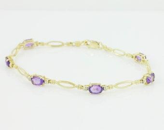 Amethyst Diamond 10K Bracelet - 10K Yellow Gold Link Bracelet 2 CT Natural Amethyst .10 CT Natural Diamonds c 1980 - Vintage Fine Jewelry