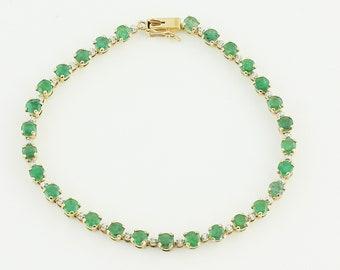 "Emerald Gold Straight Line Bracelet - Vintage 10K Yellow Gold Natural Emerald Tennis Bracelet 7"" - Vintage Fine Jewelry - Circa 1980"