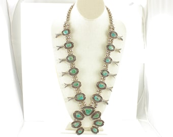 Royston Turquoise Sterling Silver Squash Blossom Necklace - 15 Large Cabochons Handmade Beads - 276 gr c1970 - Vintage Southwestern Jewelry