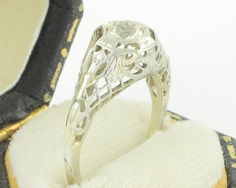 Art Deco White Gold Engagement Ring - Edwardian 10K Filigree Natural White Sapphire Solitaire Ring - Vintage Wedding Fine Jewelry