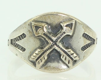 Vintage Bell Trading Crossed Arrows Sterling Silver Ring Size 5.5 - New Old Stock Southwestern Jewelry