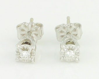 Vintage Diamond Stud Earrings 14K White Gold - .10 CT Natural Diamonds Illusion Head Mountings - April Birthstone - Vintage Fine Jewelry