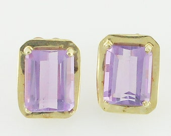 10K Gold Amethyst Earrings - 6 CT Amethyst Eighties Rectangular Stud Earrings 10K Yellow Gold - Signed Jacmel - Vintage Fine Jewelry