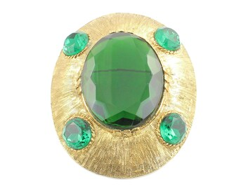 Vintage Bold Oval Emerald Green Glass Crystal Gold Tone Brooch - Mid Century Modern Dalsheim Pin Pendant - Vintage Jewelry