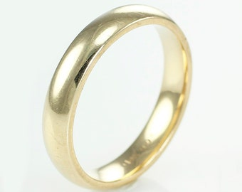 14k Vintage Wedding Band - Yellow Gold Comfort Fit Ring Plain 4 mm Band Size 8.5 c 1960- Fine Estate Jewelry