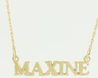 14K MAXINE Name Necklace - 1980s Yellow Gold Personalized Pendant 16.5 in Fine Rope Chain - Vintage Fine Jewelry