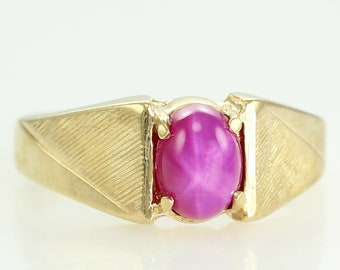 Vintage 10K Yellow Gold Created Star Ruby Man's Ring Size 9.75 - Men's Estate Jewelry