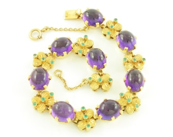 Vintage 19K Amethyst Emerald Bracelet - 800 Yellow Gold 32 CT Amethyst 1 CT Emerald - Exquisite Handmade in Portugal -Antique Estate Jewelry