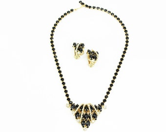 Black Rhinestone Set - Crystal Bib Necklace and Earrings Demi Parure 1950s Vintage - Unsigned Estate Jewelry