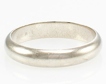 Vintage Wedding Ring - 10K White Gold Half Dome Band circa 1950 - Fine Estate Bridal Jewelry - Minimalist Stacking Ring