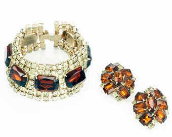 Vintage Root Beer and Pale Yellow Rhinestone Statement Bracelet and Earring Set - 1950s Glamour Demi-Parure - Estate Jewelry