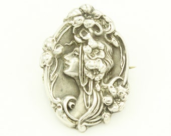 Art Nouveau Silver Pin - Lady with Flowers Dainty Brooch - Antique Estate Sterling Jewelry - Romantic Gift for Her