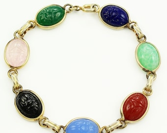 Multi Color Scarab Bracelet - Egyptian Revival Gold Tone Glass Bracelet - Vintage Costume Jewelry