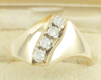 1980s 14K Gold Diamond Modern Bypass Ring - .20 CT TW Tapered Yellow Gold Band - 3.3 gram Size 6.75 Circa 1980 - Vintage Estate Fine Jewelry