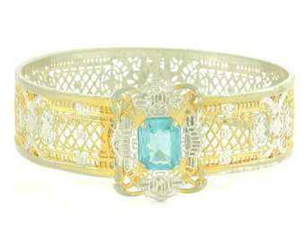 Art Deco Two Tone Filigree Bangle - Wide Edwardian Opening Bracelet Aqua Lab Created Spinel - JJ White 6.75 IN - Vintage Estate Jewelry