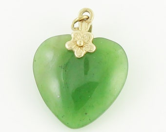 Jade Heart Gold Pendant - 14K Yellow Gold Nephrite Carved Heart Flower Charm - Vintage Jewelry