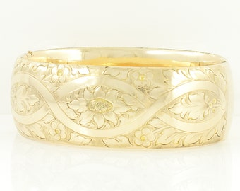 Victorian Rosy Gold Bracelet - 12K Gold Shell Wide Floral Engraved Hinged Bangle - Signed F & C. Co. - Vintage Jewelry
