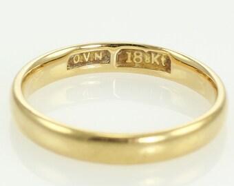 Antique 18K Half Dome 3mm Wedding Band Size 6.25 - O.V.N. Victorian Wedding Ring - Estate Jewelry