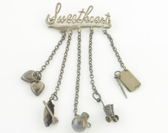 Vintage Sweetheart Charm Chatelaine Brooch - Sterling Silver Five Charm Dangle Pin - WWII Era 1940s - Mexican Silver - Vintage Jewelry