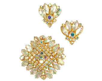 1960's Golden Aurora Borealis Rhinestone Square Brooch Fan Earrings Set - Vintage Costume Jewelry