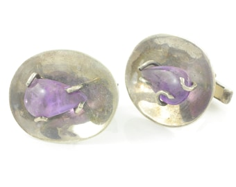 Mid Century Modern Sterling Silver Amethyst Cuff Links - Mexico City Hecho en Mexico DF 925 JV - c1950 17.8g- Vintage Mexican Silver Jewelry