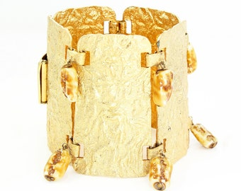 Chunky Golden Bracelet - Vintage Organic Textured Gold Tone Statement Bracelet - 1950s Mid Century Modern Jewelry