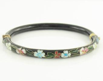 Vintage Chinese Cloisonne Enamel Hinged Tubular Bangle Bracelet - Pink White Blue Flowers on Black Field - Vintage Jewelry