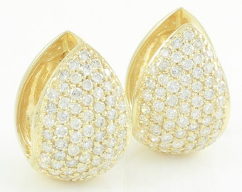 Sonia Bitton 14K Natural Diamond Huggie Earrings - Pave Set Yellow Gold Hinged Reversible Hoops 1.05 CT TW - c1990 - Vintage Fine Jewelry