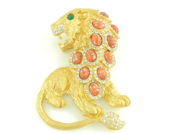 Vintage Kenneth Jay Lane Huge Roaring Lion Brooch - 1960s Gold Tone Coral Glass Cabochons Rhinestones - 3 1/4 X 2 1/4 Inch - Vintage Jewelry