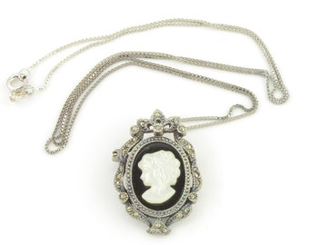 Vintage Sterling Marcasite Black Onyx Mother of Pearl Cameo Pendant Pin - 925 Silver Necklace 24 Inch - Estate Jewelry