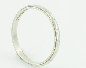 Antique White Gold Wedding Band - Art Deco 18K White Milgrain Edge Stacking Ring circa 1920 - Ladies Size 7 Band - Vintage Fine Jewelry