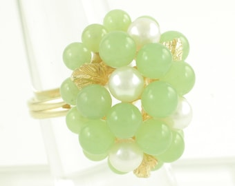 Vintage 14K Light Green Jade Akoya Cultured Pearl Cluster Ring - Yellow Gold Statement Cocktail Ring - Size 6.25- Vintage Fine Jewelry